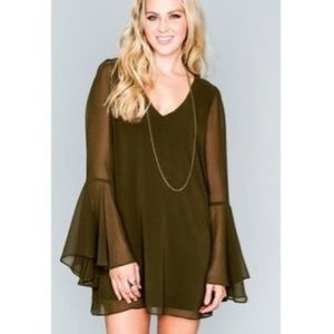 Show Me Your Mumu Berry Bell Sleeve Dress Olive